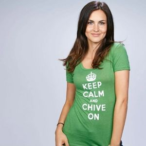 Keep Calm and Chive On Green XL Tee Shirt T Top